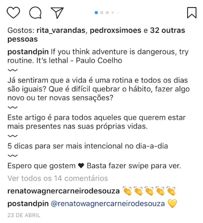 Como dar espaço na legenda do Instagram - Exemplo Emojis